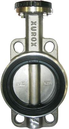 Затвор дисковый поворотный  нержавеющая сталь межфланцевый с редуктором XUROX 505WE R DN300 PN16
