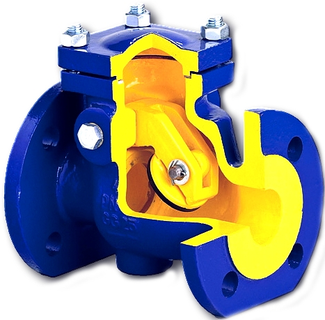 Клапан обратный поворотный чугунный фланцевый фланцевый 302A-080-C-01 PN16 DN80